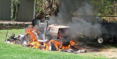 riding mower fire